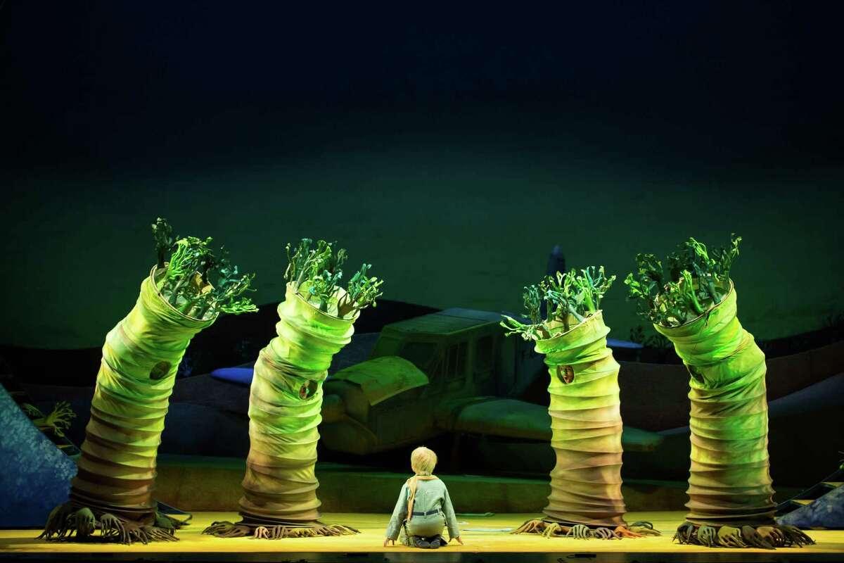 Andy Jones as The Little Prince; Federico de Michelis, Chris Bozeka, Samuel Schultz, John Kapusta, Ensemble, in HGO production of The Little Prince.