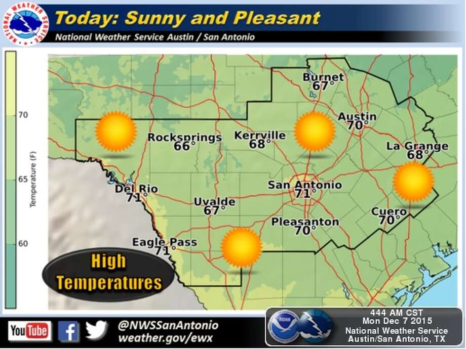 Clear skies are expected throughout the week in San Antonio, along with rising temperatures. Photo: National Weather Service