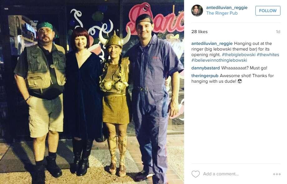 """Hanging out at the ringer (big lebowski themed bar) for its opening night. #thebiglebowski #thewhites #ibelieveinnothinglebowski,"" @antediluvian_reggie. Photo: Instagram.com/Twitter.com"