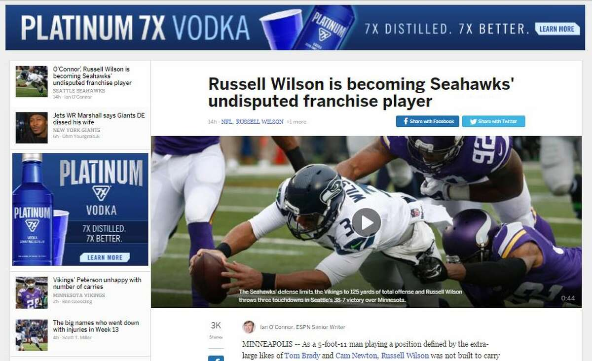 NFL.com's Ian O'Connor O'Connor also praised Wilson's effort, writing that the fourth-year quarterback has become the Hawks' franchise player.