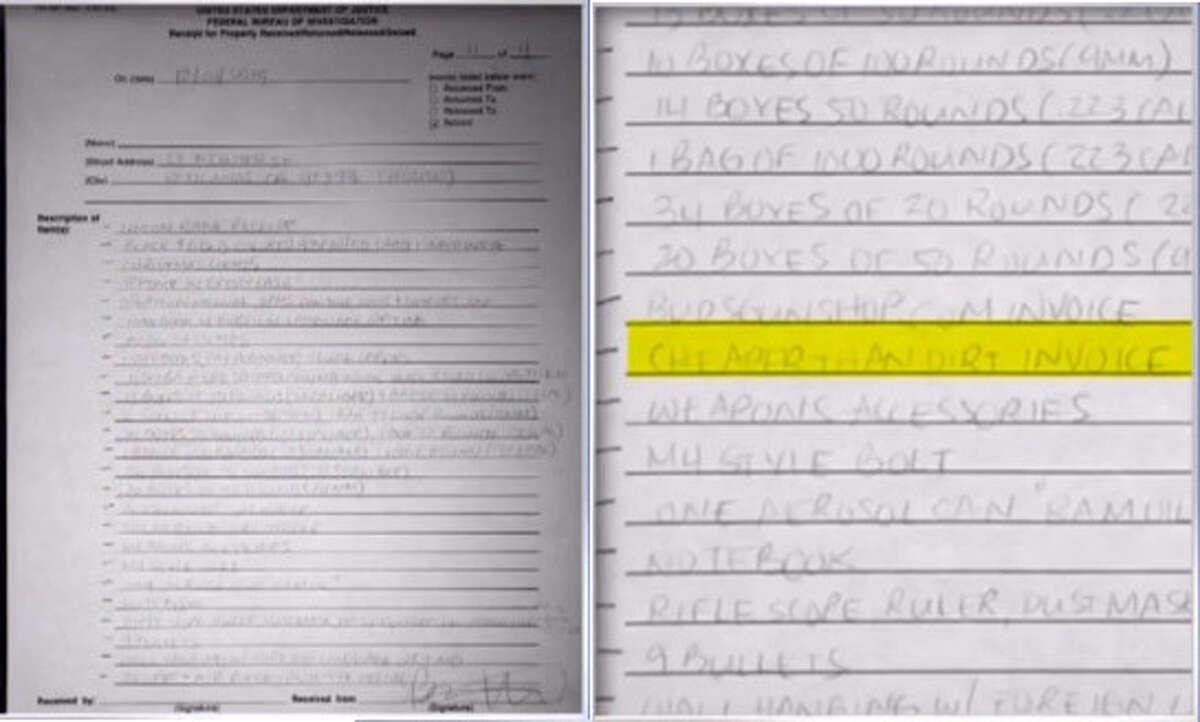 FBI's list of seized items from the home of the San Bernardino terrorists. (via CBS DFW)