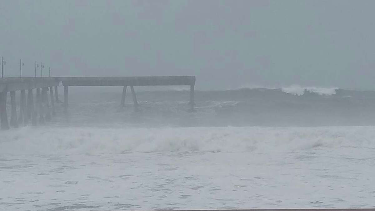 The waves this morning off the Pacifica pier.