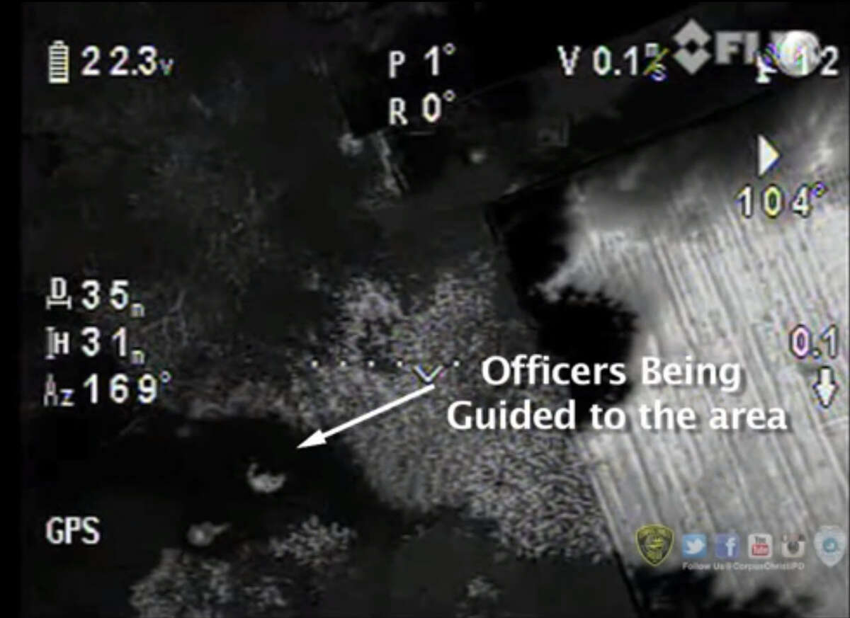 Police in Corpus Christi, Texas used an aerial drone equipped with a thermal imaging camera to help guide officers and a K9 unit to a location where armed were spotted near a school campus on Dec. 4, 2015.