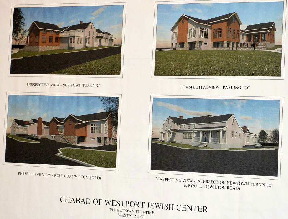 Architectural drawings shown to the Planning and Zoning Commission depict various perspectives of the proposed expansion of Chabad Lubavitch of Westport on Newtown Turnpike. Photo: Jarret Liotta / For Hearst Connecticut Media / Westport News