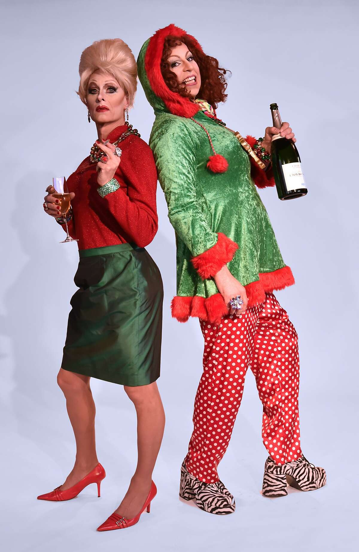 """Christian Heppinstall as Patsy and Terry McLaughlin as Edina in Oasis Nightclub and Cabaret's """"Absolutely Fabulous: The Holiday Episodes."""""""
