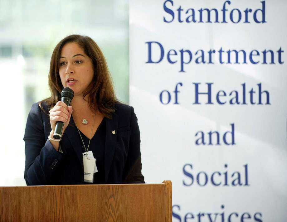 """Stamford Director of Health and Social Services Anne Fountain speaks at a """"fight the flu"""" press conference in 2014. She is leaving for a job in the private sector on Dec. 11. Photo: Lindsay Perry / Hearst Connecticut Media / Stamford Advocate"""