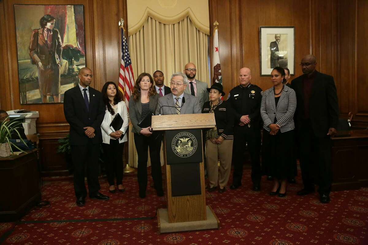 Mayor Ed Lee speaks during a news conference regarding the officer involved shooting of Mario Woods in the Bayview District last week in the Mayor's Office at City Hall on Monday, December 7, 2015 in San Francisco, Calif.