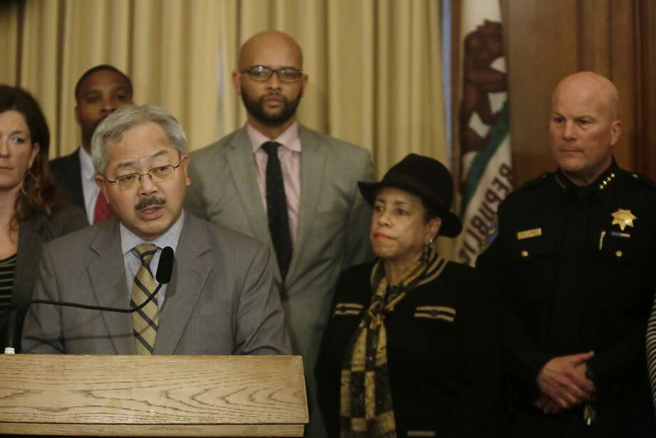 Mayor Ed Lee speaks at a news conference regarding the officer involved shooting of  Mario Woods in the Bayview District last week  in the Mayor's Office at City Hall on  Monday, December 7,  2015 in San Francisco, Calif. Photo: Lea Suzuki, The Chronicle