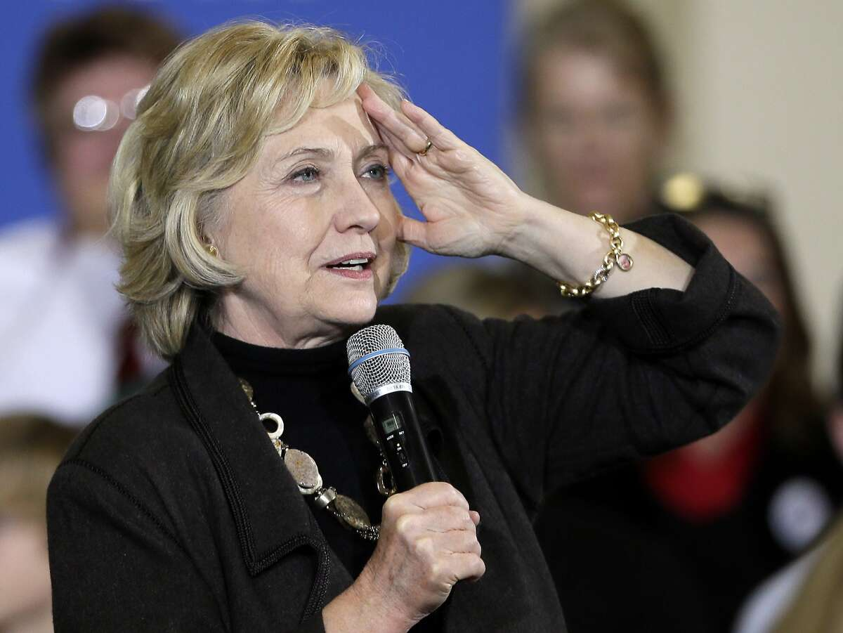 FILE - In this Friday, Dec. 4, 2015, file photo, Democratic presidential candidate Hillary Clinton speaks during a town hall meeting in Fort Dodge, Iowa. Clinton will unveil a proposal for a new