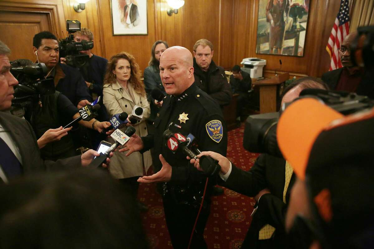 Police Chief Greg Suhr answers questions from the media after Mayor Ed Lee spoke at a news conference regarding the officer involved shooting of Mario Woods in the Bayview District last week in the Mayor's Office at City Hall on Monday, December 7, 2015 in San Francisco, Calif.