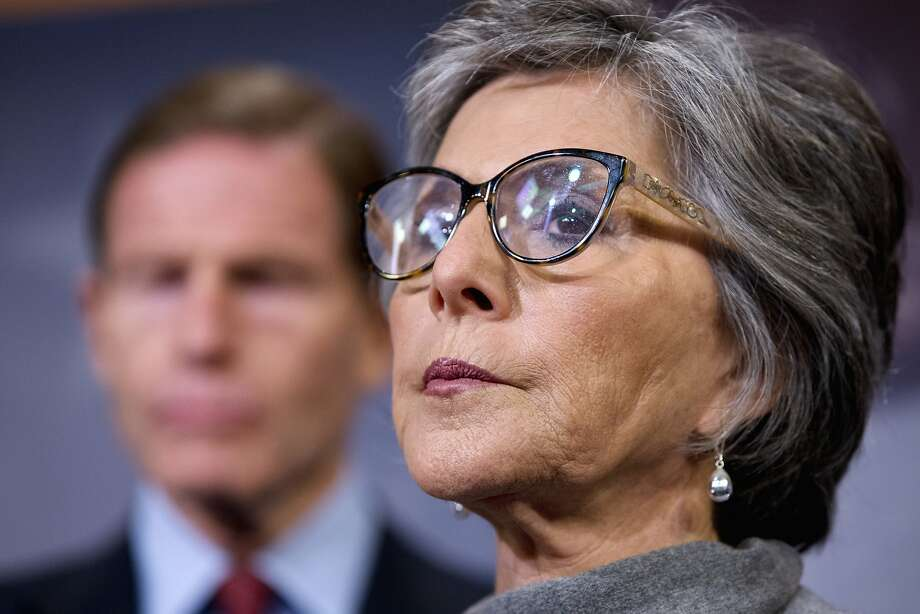 Sen. Barbara Boxer, D-Calif., (right) and Sen. Richard Blumenthal, D-Conn., discuss gun control and related amendments to the reconciliation bill. Photo: Jacquelyn Martin, Associated Press