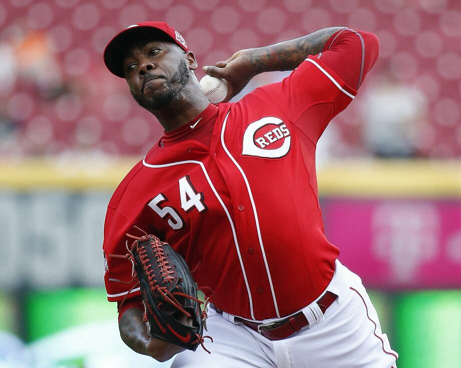 FILE - In this Sept. 7, 2015, file photo, Cincinnati Reds relief pitcher Aroldis Chapman throws in the ninth inning of a baseball game against the Pittsburgh Pirates, in Cincinnati.  Photo: John Minchillo, Associated Press