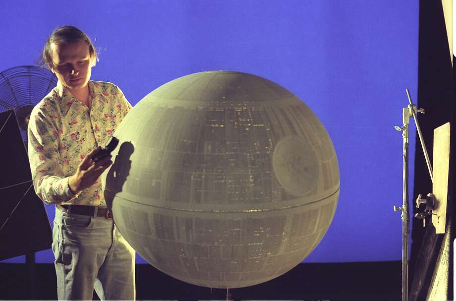 """Special effects artist Dennis Muren works on the Death Star from """"Star Wars"""" early in his career at Industrial Light & Magic. As of 2015, Muren has worked at the company for 40 years. Photo: Courtesy ILM"""