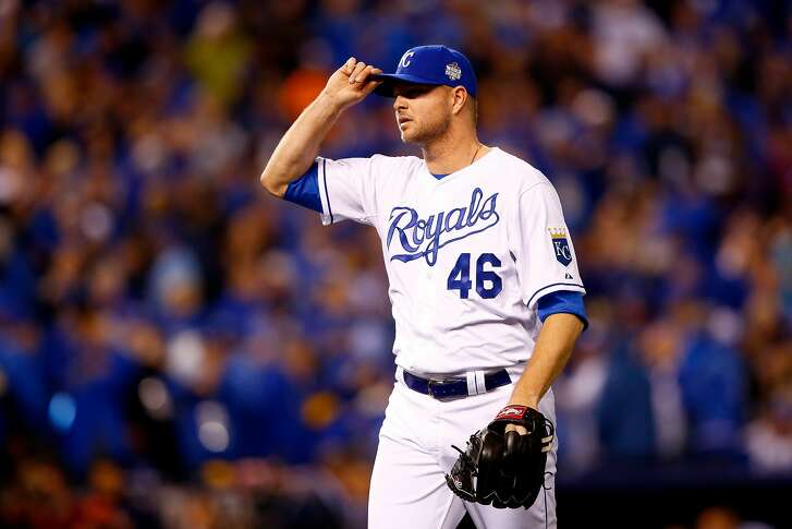 KANSAS CITY, MO - OCTOBER 27:  Ryan Madson #46 of the Kansas City Royals reacts in the eleventh inning against the New York Mets during Game One of the 2015 World Series at Kauffman Stadium on October 27, 2015 in Kansas City, Missouri.  (Photo by Jamie Squire/Getty Images)