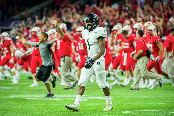 Cibolo Steele's Jaylen Harris leaves the field as Katy begins its celebration of last year's semifinal victory at NRG Stadium. This week's rematch will take place in San Antonio.
