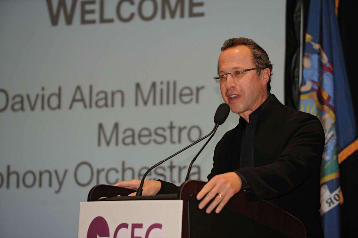 David Allen Miller, Maestro of the Albany Symphony Orchestra speaks during the annual meeting for the Center for Economic Growth at Kiernan Plaza on Wednesday, Oct. 23, 2013 in Albany, N.Y. (Lori Van Buren / Times Union)