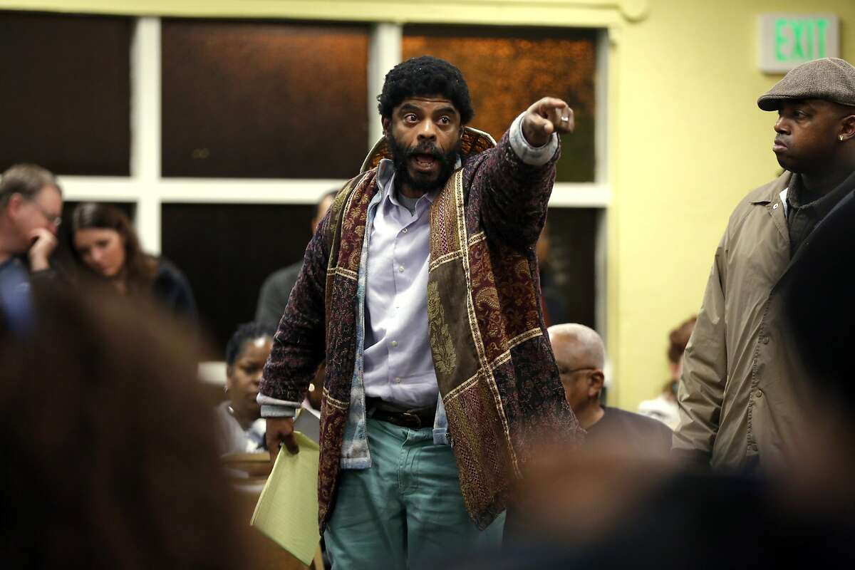 A frustrated Charles Pitts speaks at a community meeting at the Third Baptist Church regarding last week's police shooting of Mario Woods in San Francisco, California, on Monday, Dec. 7, 2015.