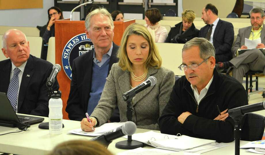 Board of Finance Chairman Brian Stern, right, addresses the Board of Education's meeting Monday, as from left, First Selectman Jim Marpe and finance board members John Hartwell and Clarissa Moore listen. Photo: Jarret Liotta / For Hearst Connecticut Media / Westport News