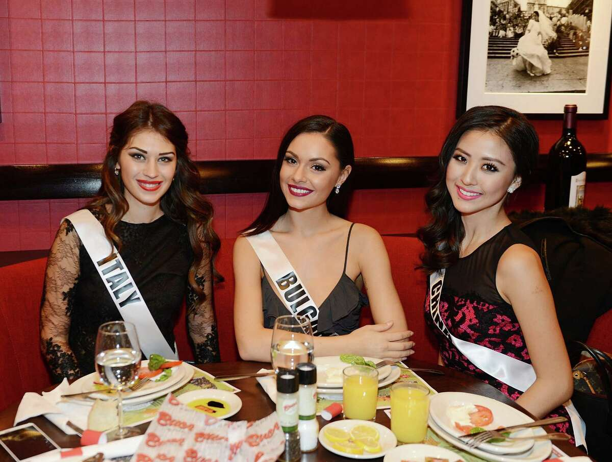 Miss Universe 2015 Contestants attend a welcome dinner at Buca Di Beppo Cafe Italiano at Ballys Hotel and Casino at Buca di Beppo on December 7, 2015 in Las Vegas, Nevada.