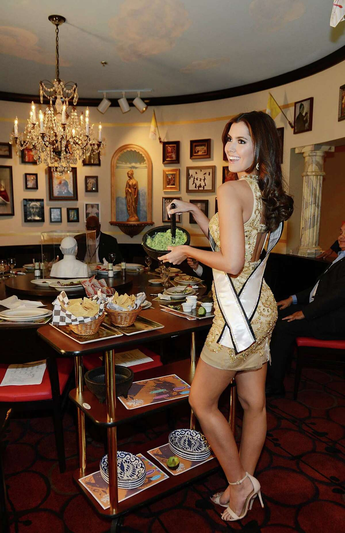 Miss Universe 2014 Paula Vega attends a welcome dinner at Buca Di Beppo Cafe Italiano at Ballys Hotel and Casino at Buca di Beppo on December 7, 2015 in Las Vegas, Nevada.