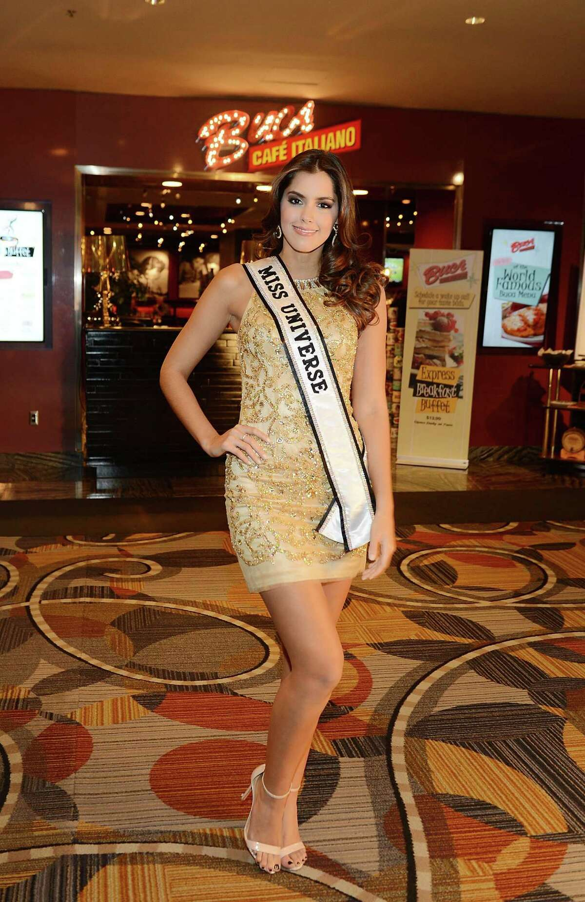 Miss Universe 2014 Paula Vega attends a welcome dinner Buca Di Beppo Cafe Italiano at Ballys Hotel And Casino on December 7, 2015 in Las Vegas, Nevada.
