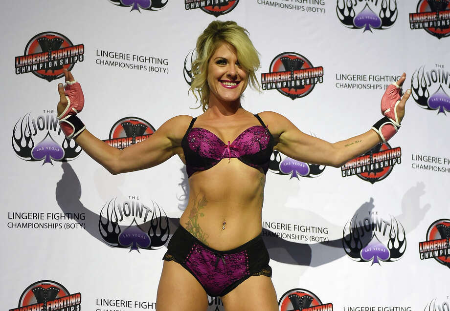 """LAS VEGAS, NV - AUGUST 08:  Fighter Teri """"Feisty Fists"""" London is introduced during """"Lingerie Fighting Championships 20: A Midsummer Night's Dream"""" at The Joint inside the Hard Rock Hotel & Casino on August 8, 2015 in Las Vegas, Nevada. Photo: Ethan Miller, Getty Images / 2015 Getty Images"""