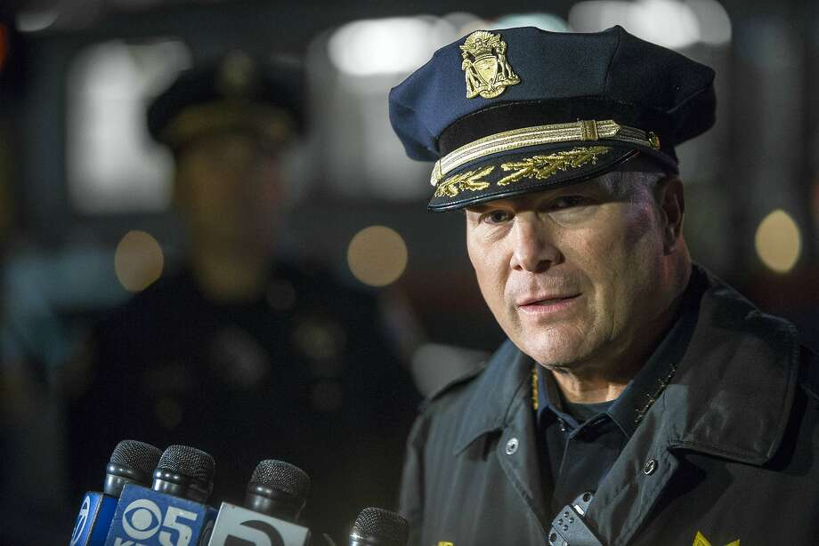"""In this Dec. 2, 2015 photo, San Francisco Police Chief Greg Suhr speaks to the media after officers close Third Street at Gilman Avenue after an officer-involved shooting in the Bayview district of San Francisco. San Francisco's police chief renewed calls Monday for adding Tasers to his department's arsenal, saying the electrical """"stun guns"""" could have prevented officers from shooting to death a knife-wielding suspect last week. (Mike Koozmin/The San Francisco Examiner via AP) MANDATORY CREDIT Photo: Mike Koozmin, Associated Press"""