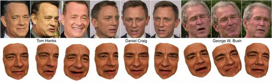 University of Washington caption: Researchers have reconstructed 3-D models of celebrities such as Tom Hanks from large Internet photo collections. The models can be controlled by photos or videos of another person.