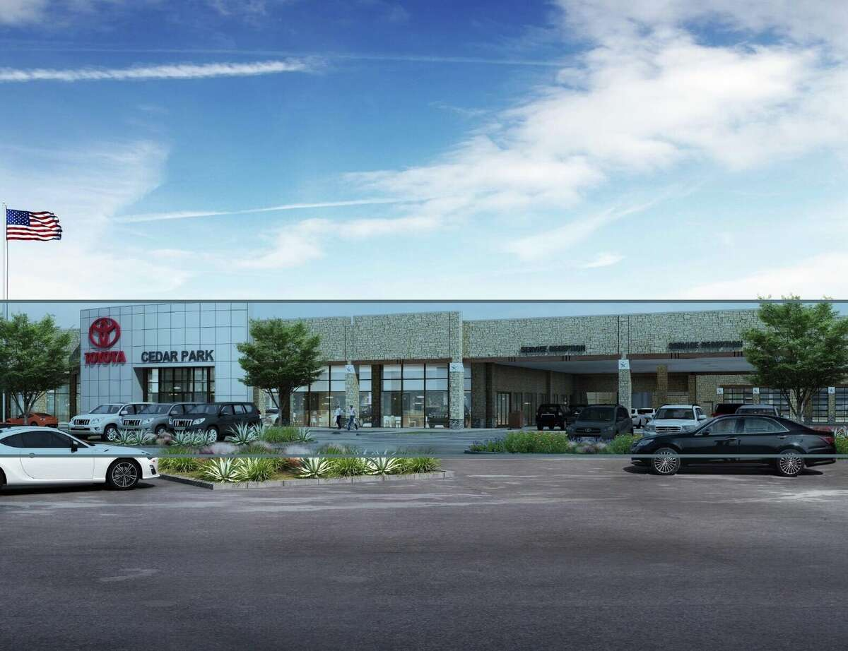 A rendering of the Cavender Auto Family's planned Toyota dealership in Cedar Park, north of Austin.