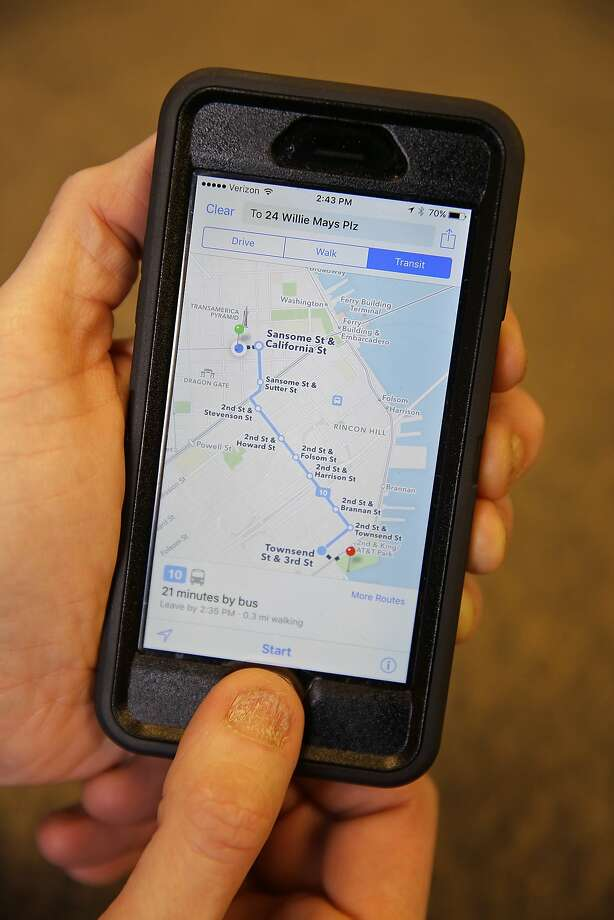 In this photo taken Friday, Dec. 4, 2015, the Apple Maps app displays transit directions in San Francisco. (AP Photo/Eric Risberg) Photo: Eric Risberg, Associated Press