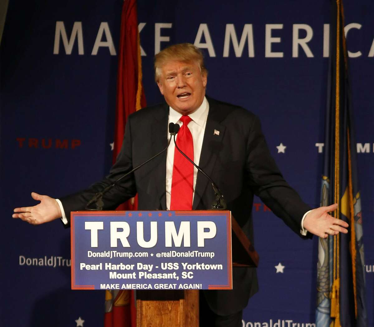 Republican presidential candidate Donald Trump speaks aboard the aircraft carrier USS Yorktown in Mt. Pleasant, S.C. on Dec. 7.
