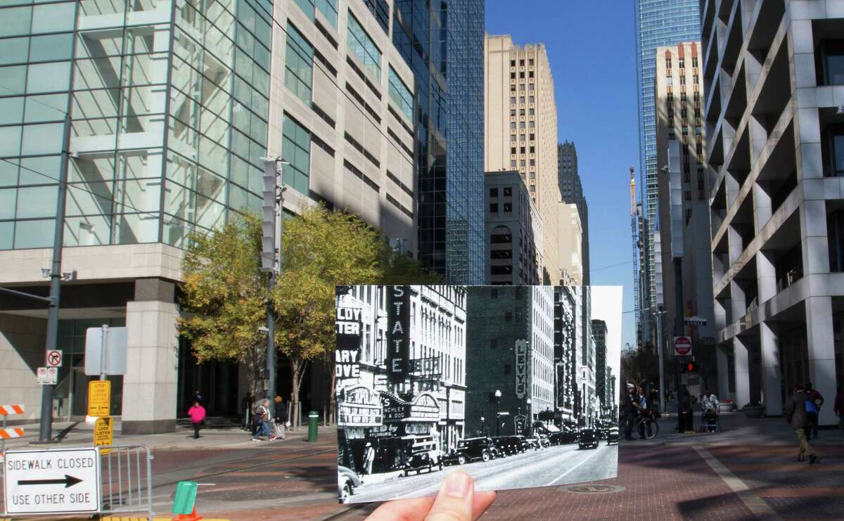 A 1936 photo showing the movie theater district along Main Street looking north from Lamar is seen juxtaposed with present day.