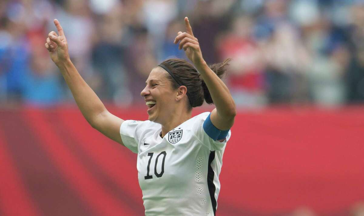 United States' Carli Lloyd celebrates her goal against Japan during the first half of the FIFA Women's World Cup soccer championship in Vancouver, British Columbia, on July 5, 2015.