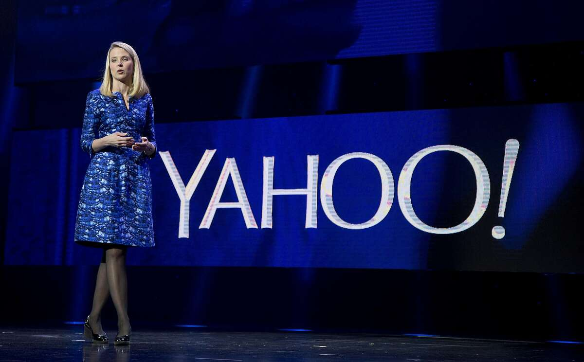 Yahoo President and CEO Marissa Mayer speaks during the International Consumer Electronics Show in Las Vegas in 2014. (AP Photo/Julie Jacobson, File)