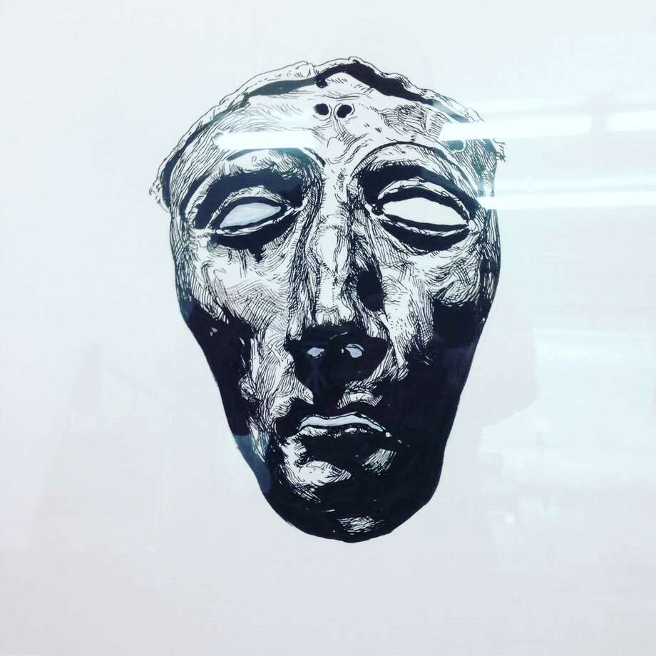 This ink drawing by Vincent Valdez of a Grecian death mask was taken off a wall of Bakery Lorraine at the Pearl. Photo: Courtesy /Vincent Valdez