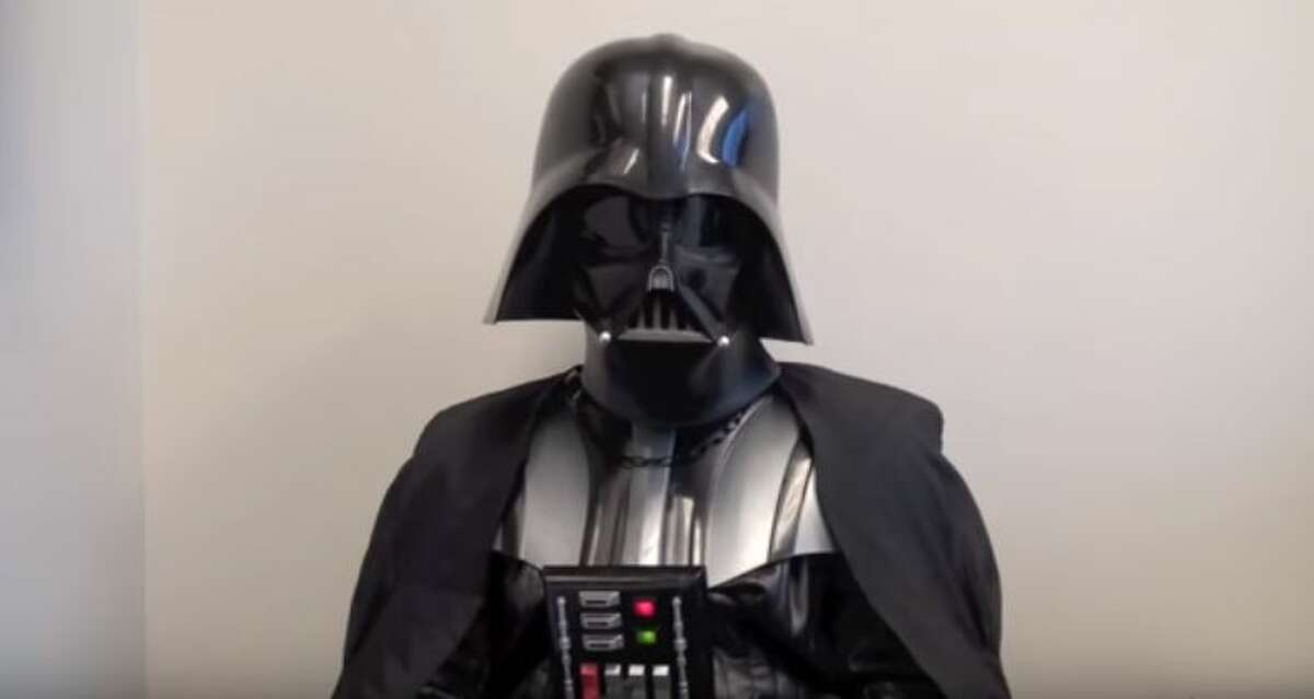 Darth Vader stopped by the Fort Worth Police Department to see if he had what it takes to be a member of the force.