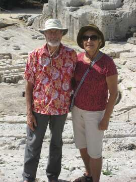 Ken and Carol Laidlaw, of Oakland, at ancient Greek ruins in Sicily.