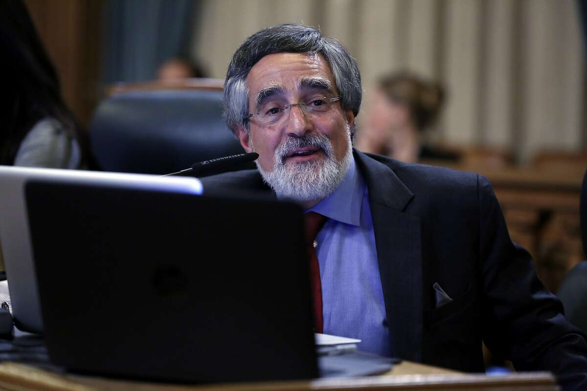 Aaron Peskin speaks during his first Board of Supervisors meeting since being elected in November at City Hall in San Francisco, California, on Tuesday, Dec. 8, 2015.