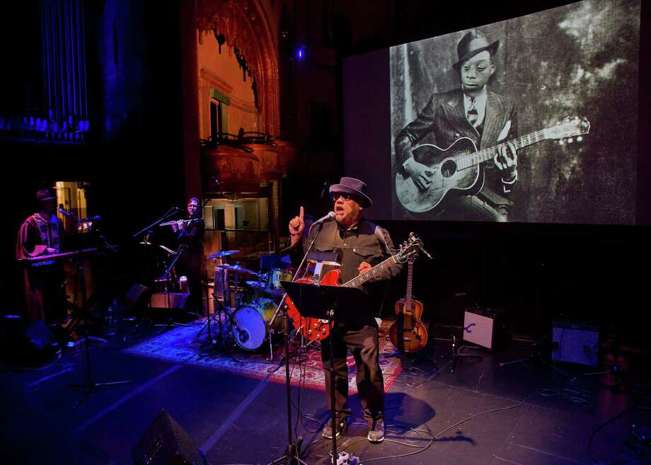 """Stew and band the Negro Problem (Art Terry, Mike McGinnis, Stew) in """"Notes of a Native Song."""""""