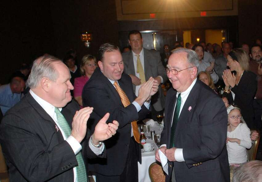 Legendary Greenwich coach and manager of The Knights of Columbus Senior Babe Ruth baseball team, John Kavanagh, right, gets a round of applause as he is introduced during the Greenwich Old Timers Inaugural Coach's Lifetime Achievement Award ceremony at the Greenwich Hyatt, March 31st, 2010. Kavanagh was presented with the award for lifetime achievement as a Greenwich coach and mentor.