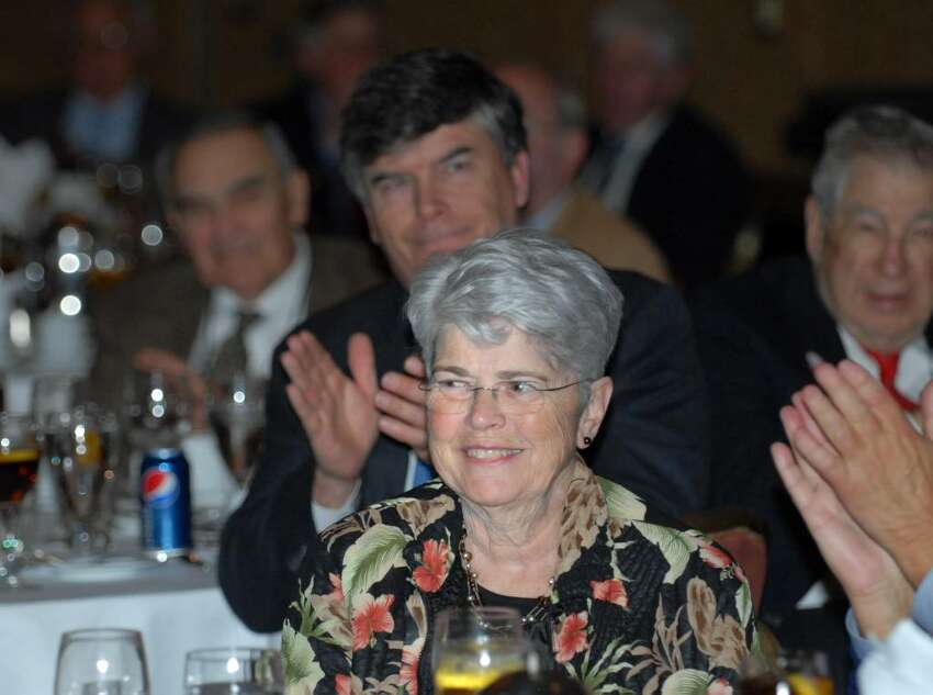 Nancy Kavanagh gets a round of applause during the Greenwich Old Timers Inaugural Coach's Lifetime Achievement Award honoring her husband, John Kavanagh, at the Greenwich Hyatt, March 31st, 2010.