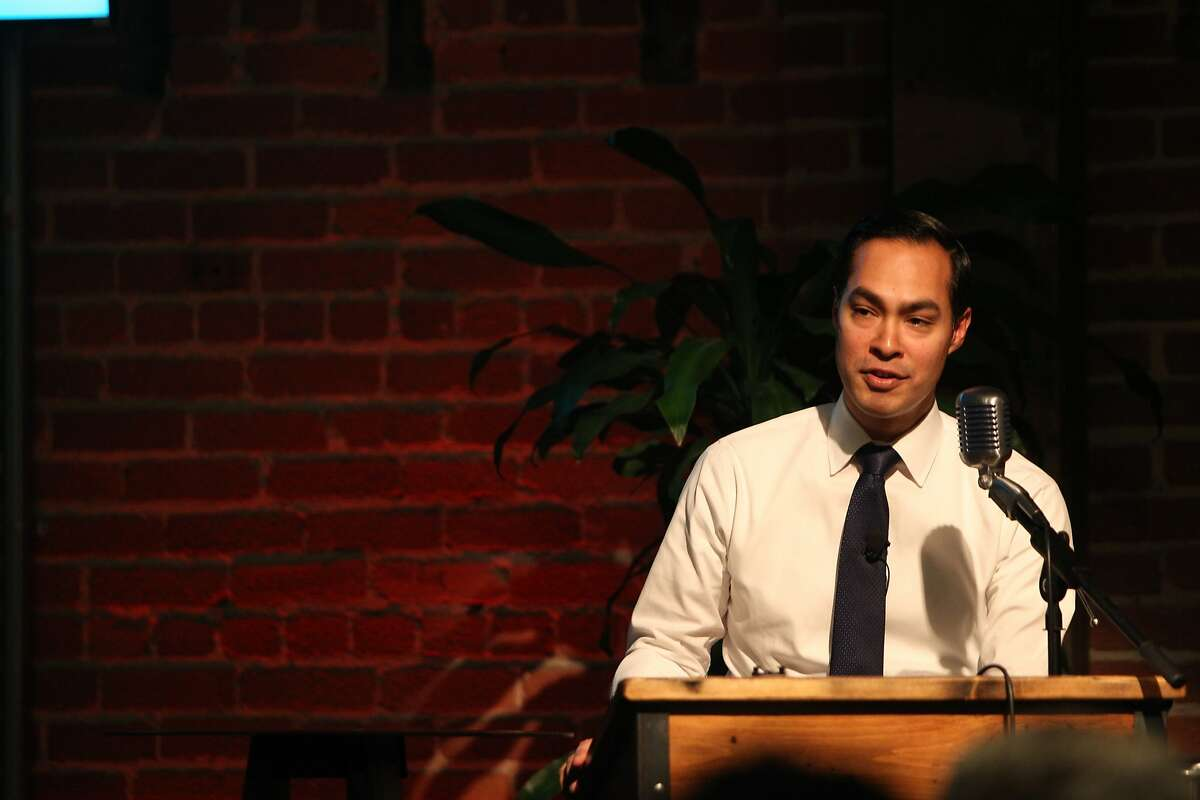 US Federal Secretary of Housing and Urban Development Julian Castro speaking at GitHub to share his vision for #ConnectHome, in San Francisco on December 8, 2015.