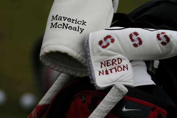 Some of the head covers on the bag of Stanford University golfer Maverick McNealy, the consensus national player of the year in 2015 and No. 2-ranked amateur in the world during a recent practice on Tuesday December 8, 2015, in Stanford, Calif.