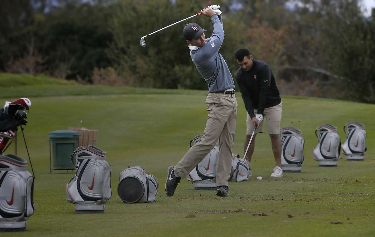 Stanford University golfer Maverick McNealy, the consensus national player of the year in 2015 and No. 2-ranked amateur in the world during a recent practice with teammate Viraat Badhwar on Tuesday December 8, 2015, in Stanford, Calif.