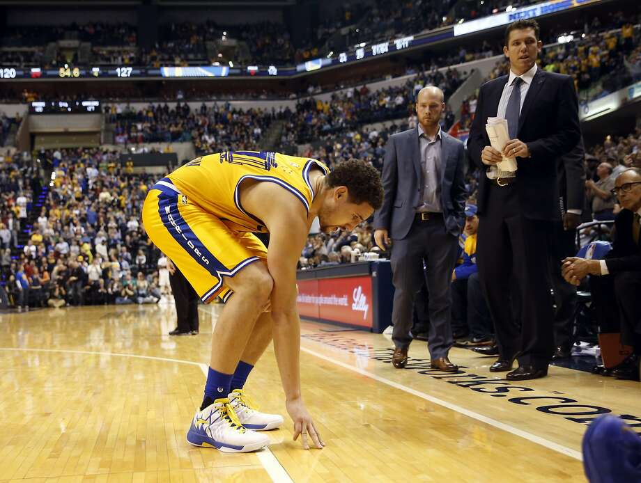 7cece9877a39 Golden State Warriors  Klay Thompson limps off court after injuring his  ankle in 4th quarter