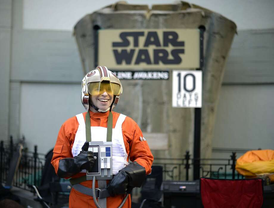 """Gerard Christian Zacher dressed in the uniform of  """"Star Wars"""" character Luke Skywalker camps out at TCL Chinese Theatre prior to the Dec. 17 opening of """"Star Wars: Episode VII - The Force Awakens"""" on December 7, 2015 in Los Angeles, California.  TCL Chinese Theatre is one of the select North American theatres that will start screening the film on December 17. Photo: Kevork Djansezian, Getty Images"""