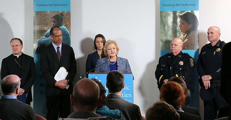 Alameda County District Attorney Nancy O'Malley addresses media at a Tuesday press conference announcing a partnership with Catholic Charities of the East Bay to provide safe homes for victims of child sex trafficking. Photo: Courtesy Of Alameda County DA