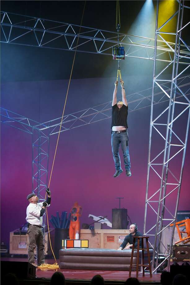 "Jamie Hyneman (left) and Adam Savage try out an experiment in ""MythBusters: Jamie & Adam Unleashed!"" Photo: David Allen"