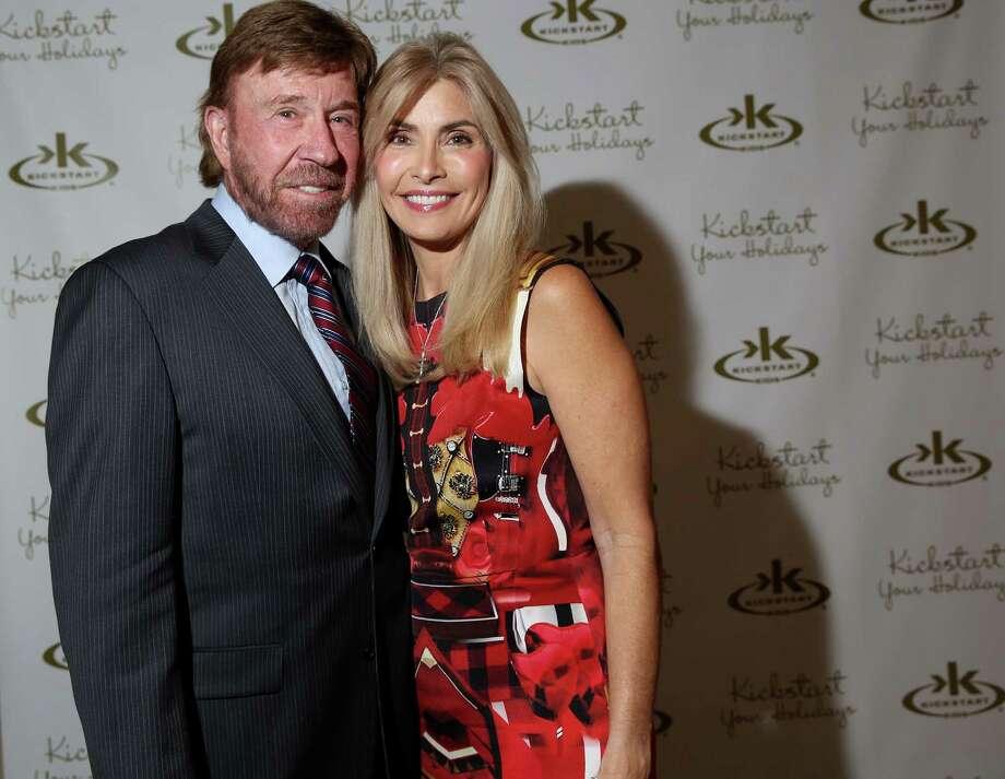 Chuck Norris and his wife, Gena Norris  Photo: Elizabeth Conley, Houston Chronicle / © 2015 Houston Chronicle