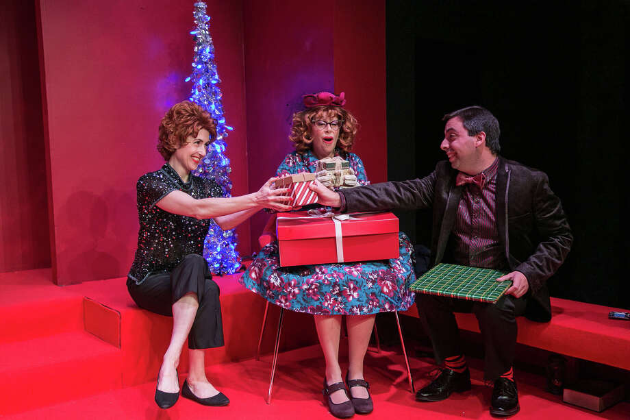 """Bell, Book & Candle,"" a romantic comedy that tells a magical story which takes place around Christmastime, is on stage at TheatreWorks New Milford. From left are Danbury actors Jenny Schuck as Gillian Holroyd, Jody Bayer as Aunt Queenie, and Matt Austin as Nicky. Photo: Rich Pettibone / Contributed Photo / The News-Times Contributed"